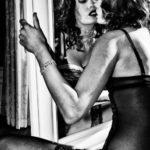 Woman enjoying herself at the mirror, Montenegro, 2012